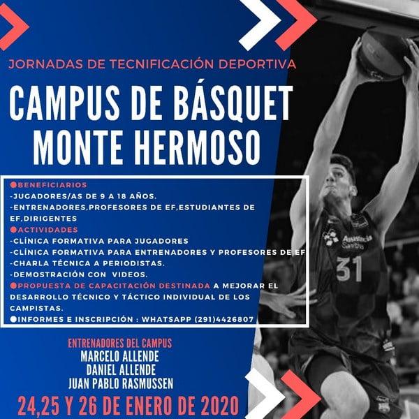 Se viene el Campus de básquet Monte Hermoso 2020