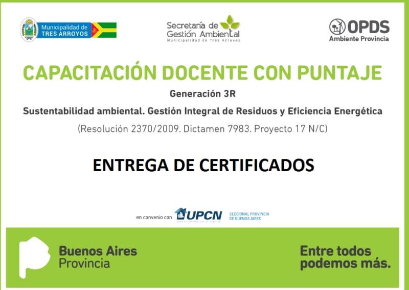 Gestión Ambiental entrega certificados a docentes