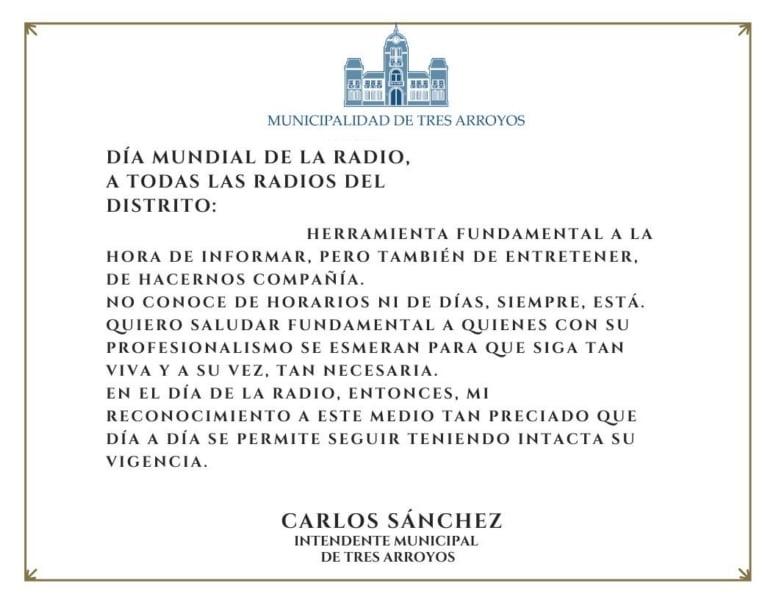 Saludo del intendente Sánchez por el Día Mundial de la Radio