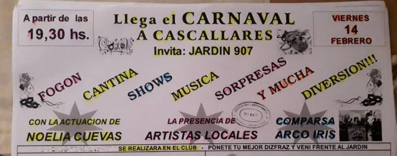 Mañana viernes celebran los carnavales en Micaela Cascallares a beneficio del Jardín N° 907