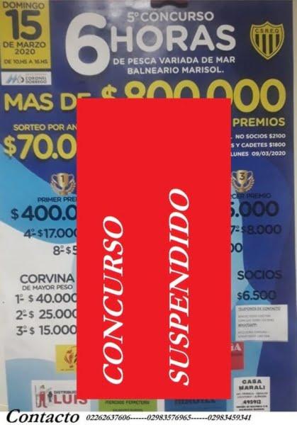 Suspenden concurso pesquero del Club El Quequén en Marisol