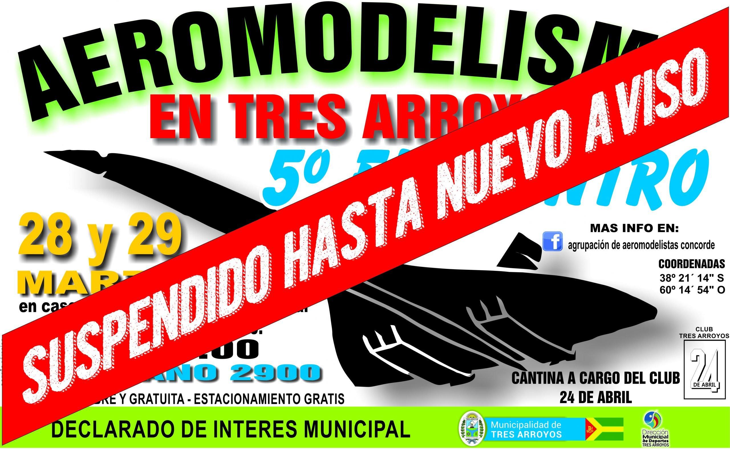 Suspenden el 5º Encuentro de Aeromodelismo en Tres Arroyos