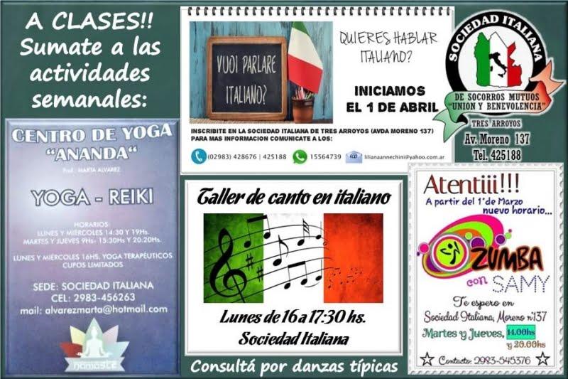 Actividades semanales en la Sociedad Italiana