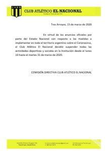 Los clubes El Nacional, Central y Alumni también suspenden sus actividades