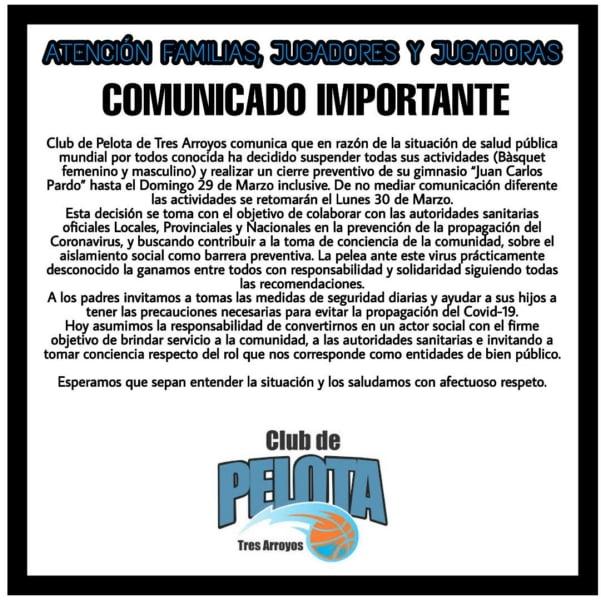 Todas las actividades suspendidas en Club de Pelota