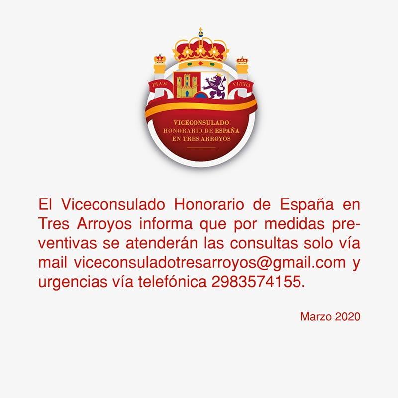 Vicenconsulado de España atiende consultas por e-mail y urgencias por teléfono