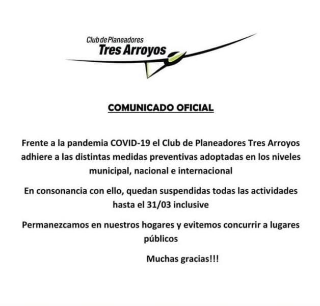 Todas las actividades suspendidas en el Club de Planeadores Tres Arroyos