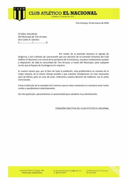 El Club El Nacional pone a disposición sus instalaciones para afrontar el coronavirus