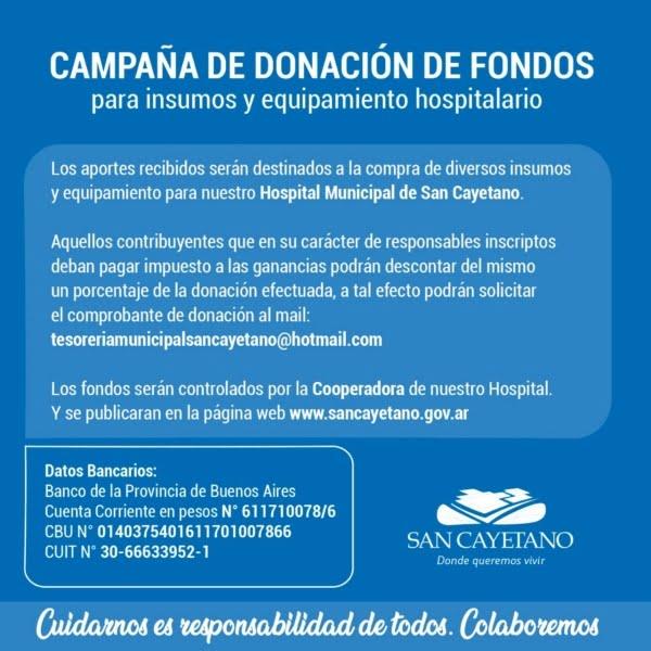 Donaciones por más de 600.000 pesos para equipamiento e insumos de salud en San Cayetano