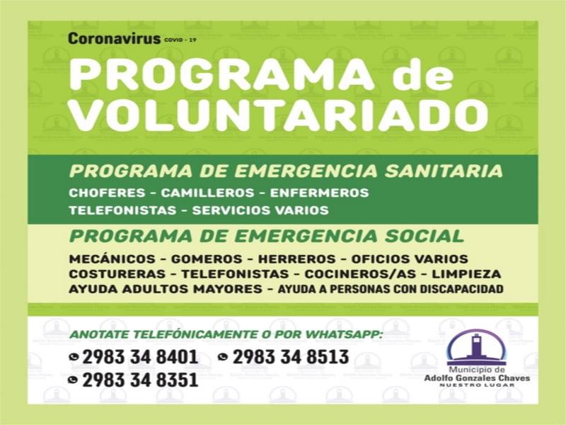 COVID -19: En Gonzales Chaves convocan a integrar voluntariado