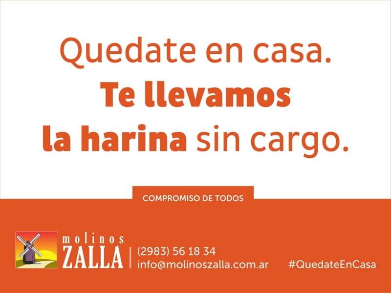 Molinos Zalla adhiere a la cuarentena obligatoria y facilita envíos a domicilio sin cargo