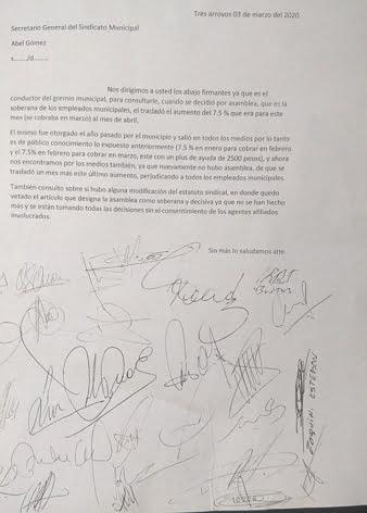 """Interna: Un sector de los Municipales reclama por el """"corrimiento"""" del aumento salarial"""