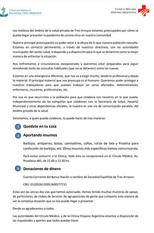 Médicos piden donaciones para la clínica privada Hispano Argentina