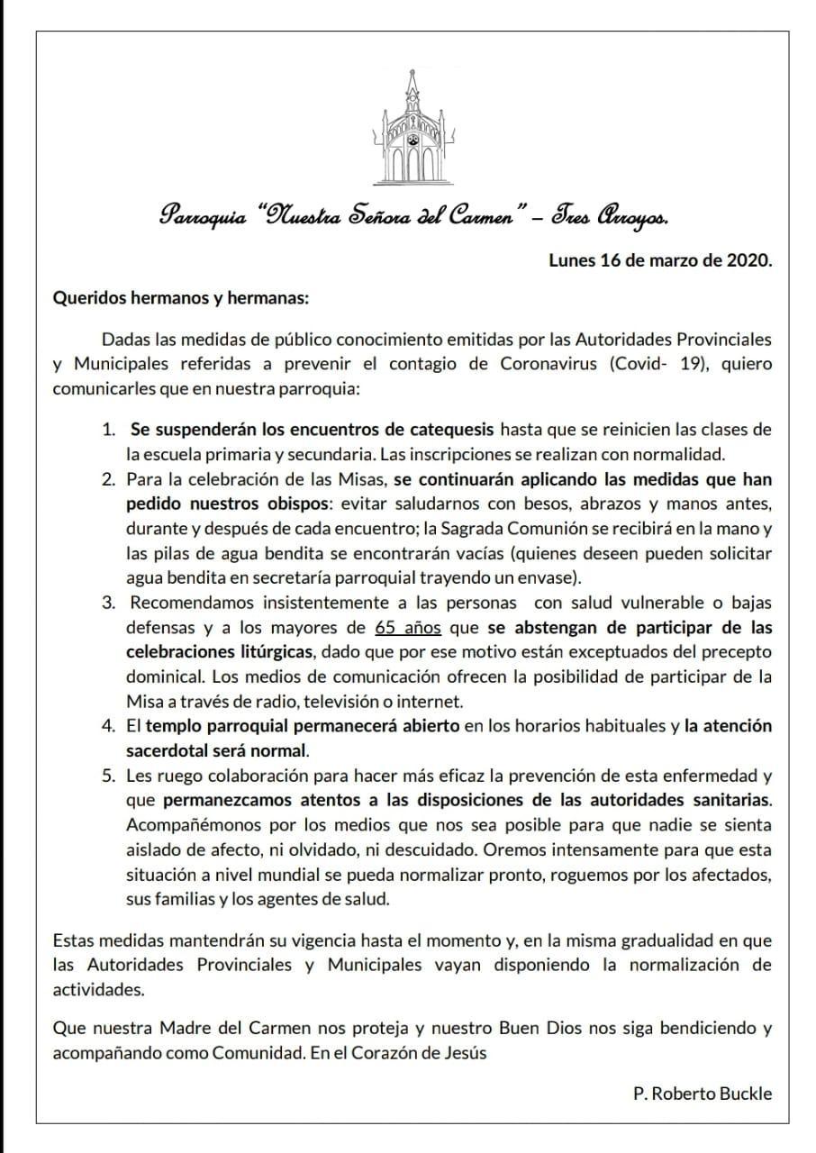 Medidas adoptadas en la Parroquia del Carmen por el coronavirus