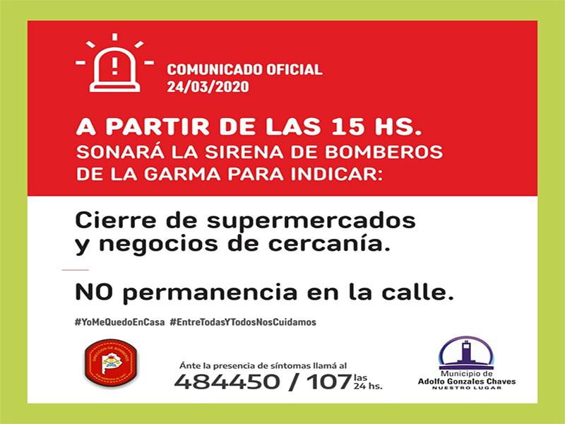 En Gonzales Chaves sonará la sirena todos los días a las 15:00 (video)