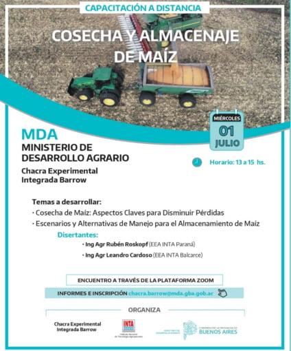 Jornada virtual sobre cosecha y almacenaje de maíz