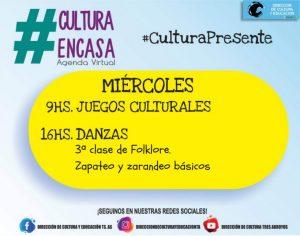 Juegos culturales y danzas en la agenda virtual de este  miércoles