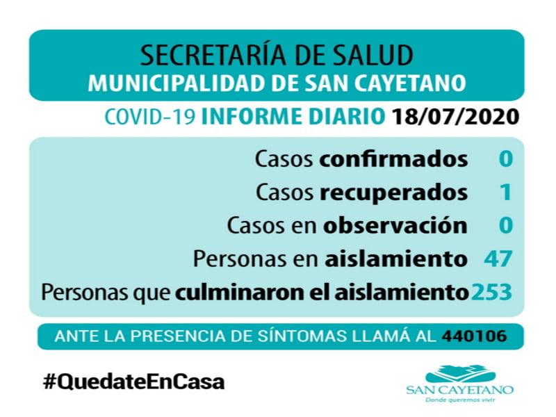 San Cayetano, sin casos por COVID 19