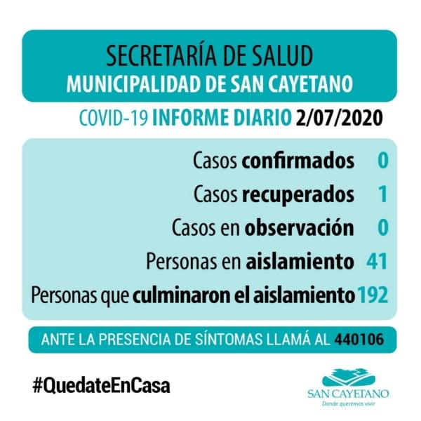 San Cayetano continúa sin casos sospechosos de COVID-19