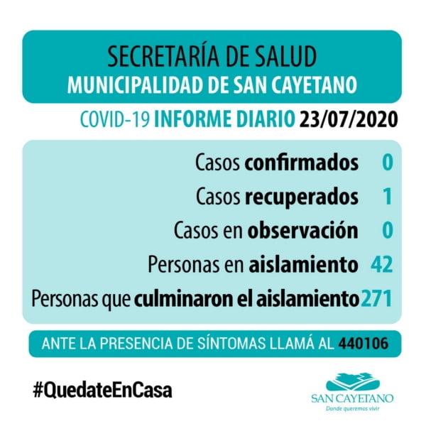 Sin casos activos de COVID 19, ni en observación en San Cayetano