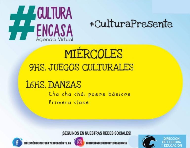 Actividades de la Agenda Cultural Virtual de este miércoles