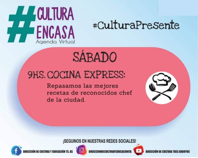 """Sábado de """"Cocina Express"""" en la Agenda Cultural Virtual"""