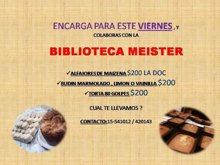 Venta de alfajores, budines y tortas de la Biblioteca Meister