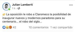 """""""El robo del siglo"""": Lamberti cuestionó a la oposición por los paradores"""