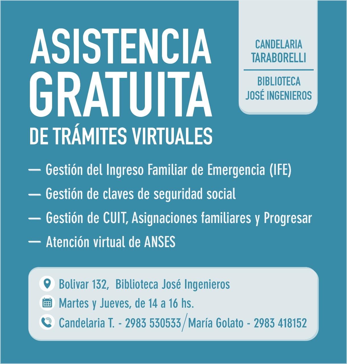 Asistencia gratuita de trámites virtuales de la Biblioteca José Ingenieros