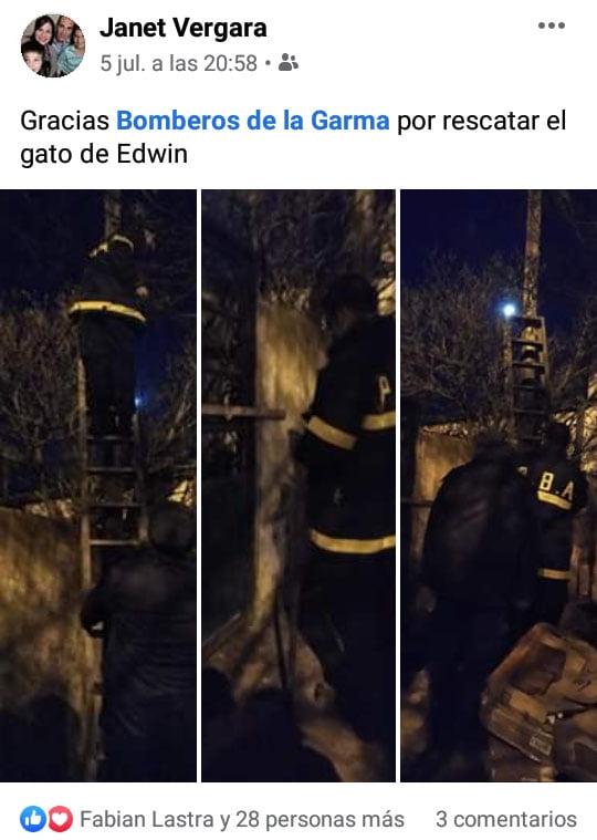 De La Garma: vídeo y agradecimiento por rescatar un gato atrapado en un poste eléctrico