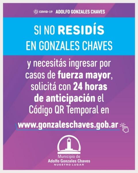 Atención Gonzales Chaves: código QR temporal