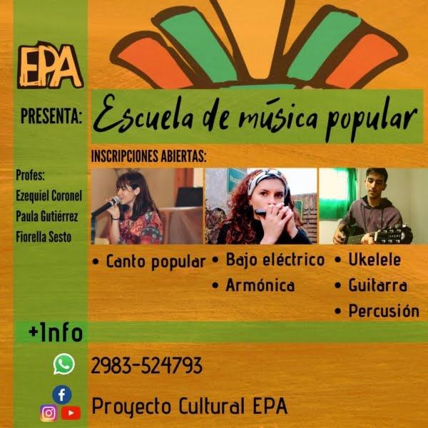 Con cupos limitados, inscriben en los talleres de música del Proyecto Cultural EPA