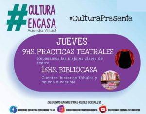 """""""Prácticas teatrales"""" y """"Bibliocasa"""" en la Agenda Cultural Virtual del jueves"""