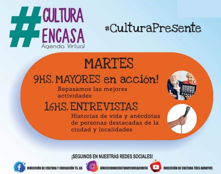 Agenda cultural virtual para el martes