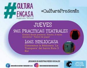Agenda Cultural Virtual para este jueves