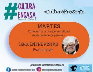 Eva Lacave, en la entrevista de la Agenda Cultural Virtual