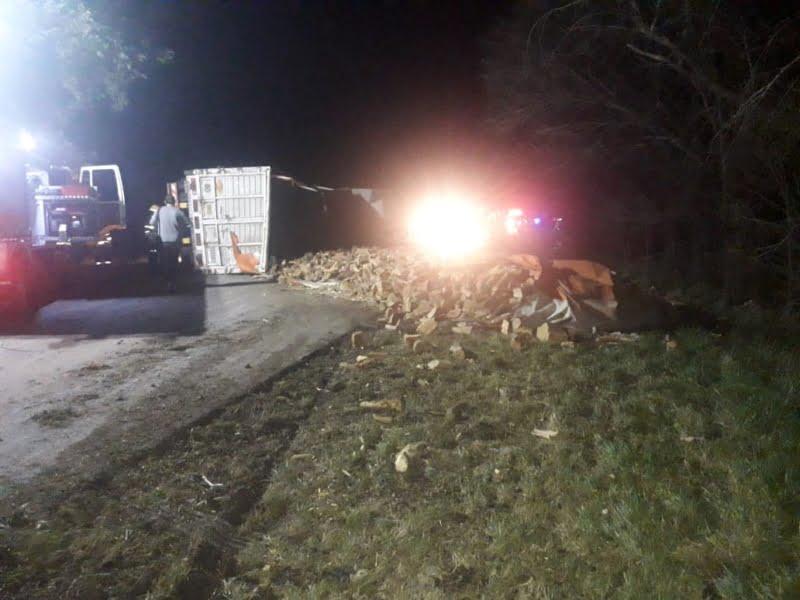 Volcó camión cargado con leña en Ruta 85 que tenía destino Tres Arroyos
