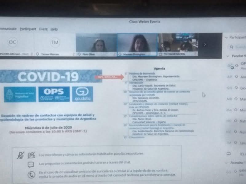 Guerra participó de reunión virtual sobre rastreo de contactos con equipos de salud y epidemiología