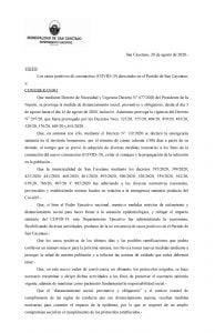 Nuevas medidas preventivas por el COVID – 19 en San Cayetano