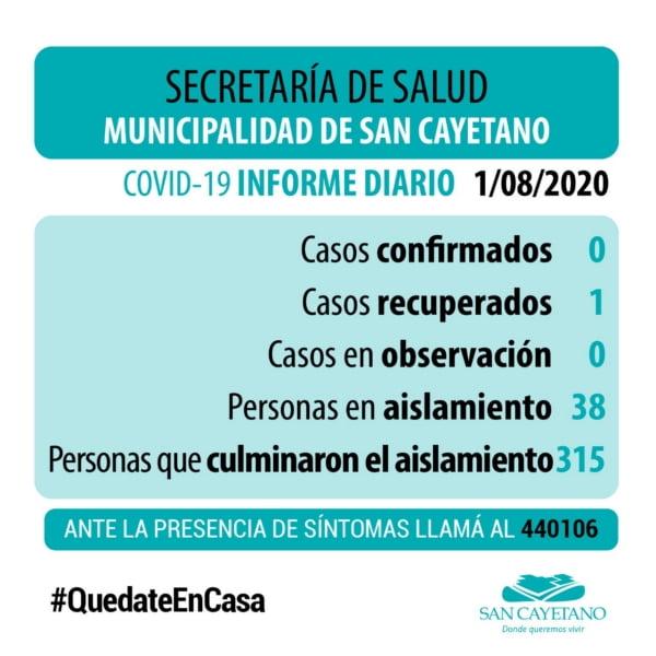 San Cayetano sigue sin registrar casos sospechosos de COVID-19