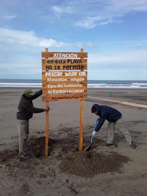 Correcto uso de las playas: colocan carteles en Dunamar