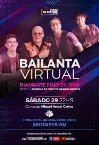Diamante Rojo realiza show virtual a beneficio de una institución de Olavarría