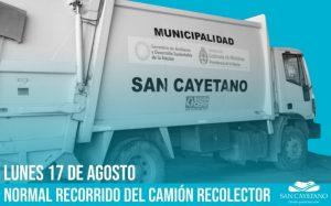 El lunes habrá recolección de residuos en San Cayetano