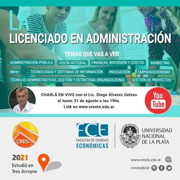 CRESTA: realizarán charla en vivo sobre la carrera de Licenciatura en Administración