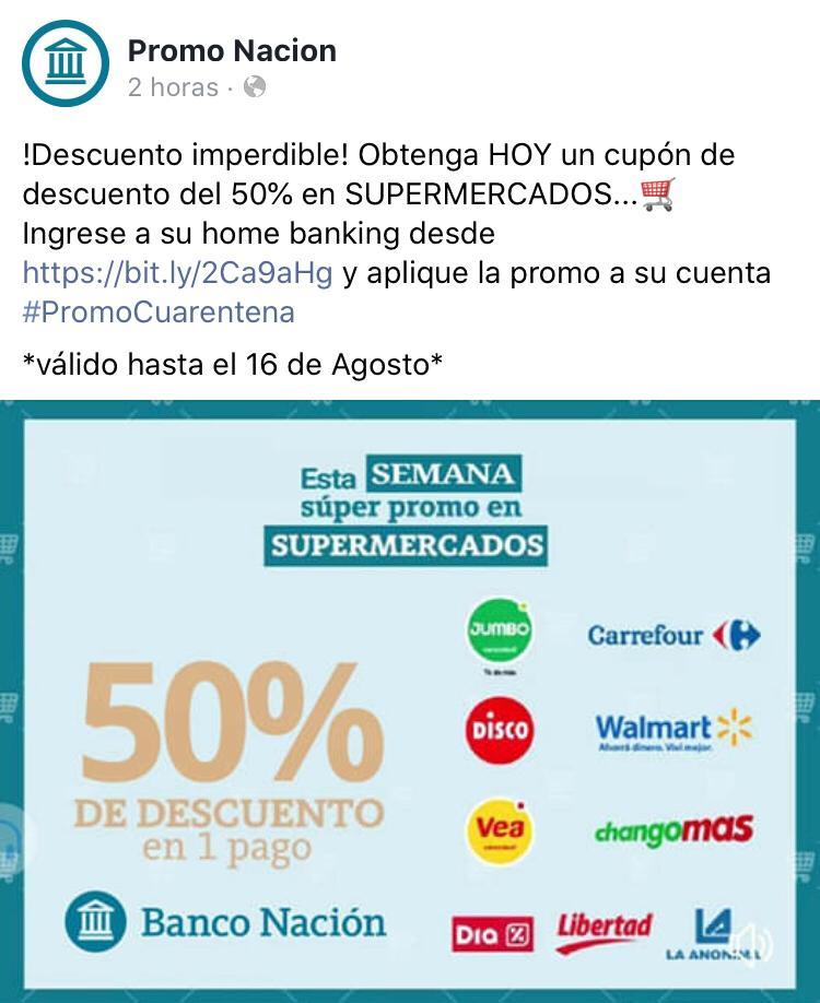 Advierten sobre link con promo falsa del Banco Nación por Facebook