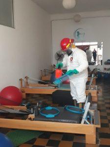 Bomberos De La Garma desinfectaron centros deportivos