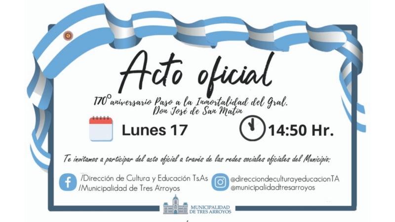 El lunes será el acto por el 170º aniversario de la muerte de San Martín