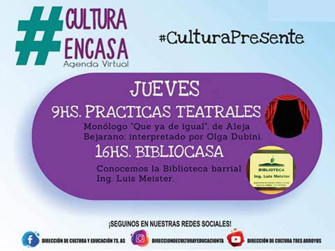 Sigue la Agenda Cultural Virtual de este jueves