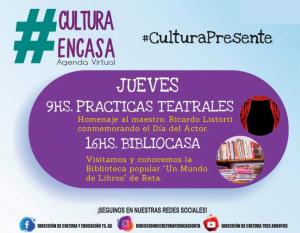 Agenda Cultural Virtual de este jueves 27