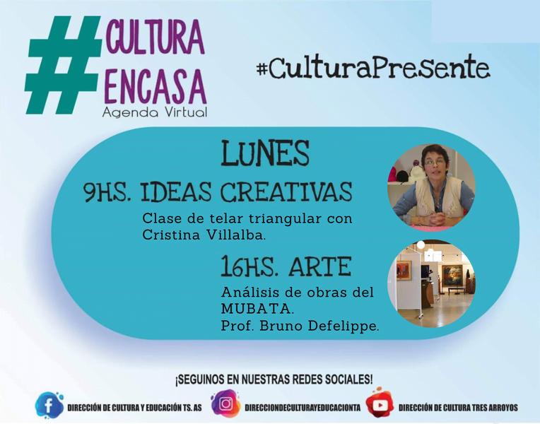 Agenda cultural virtual para este lunes